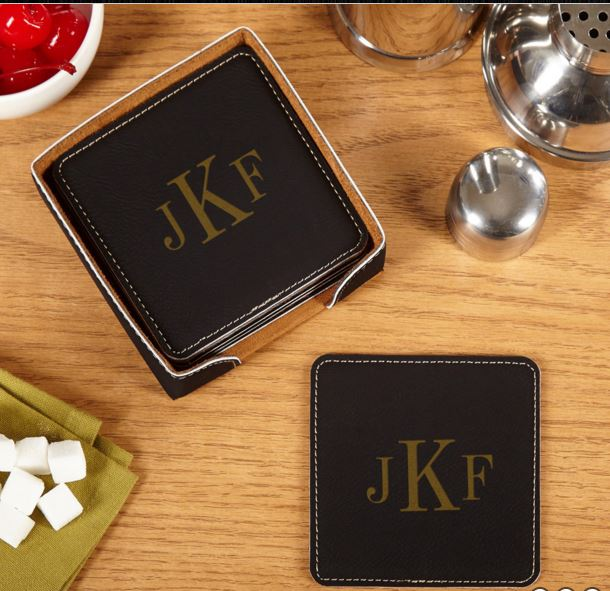 Black  Leather Square Coaster Sets WAUCUST53710A