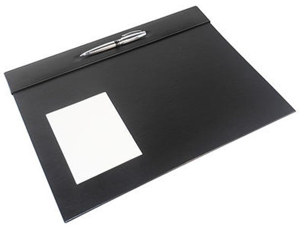 Black Leather Desk Blotter / Desk Pad WAUCUST500