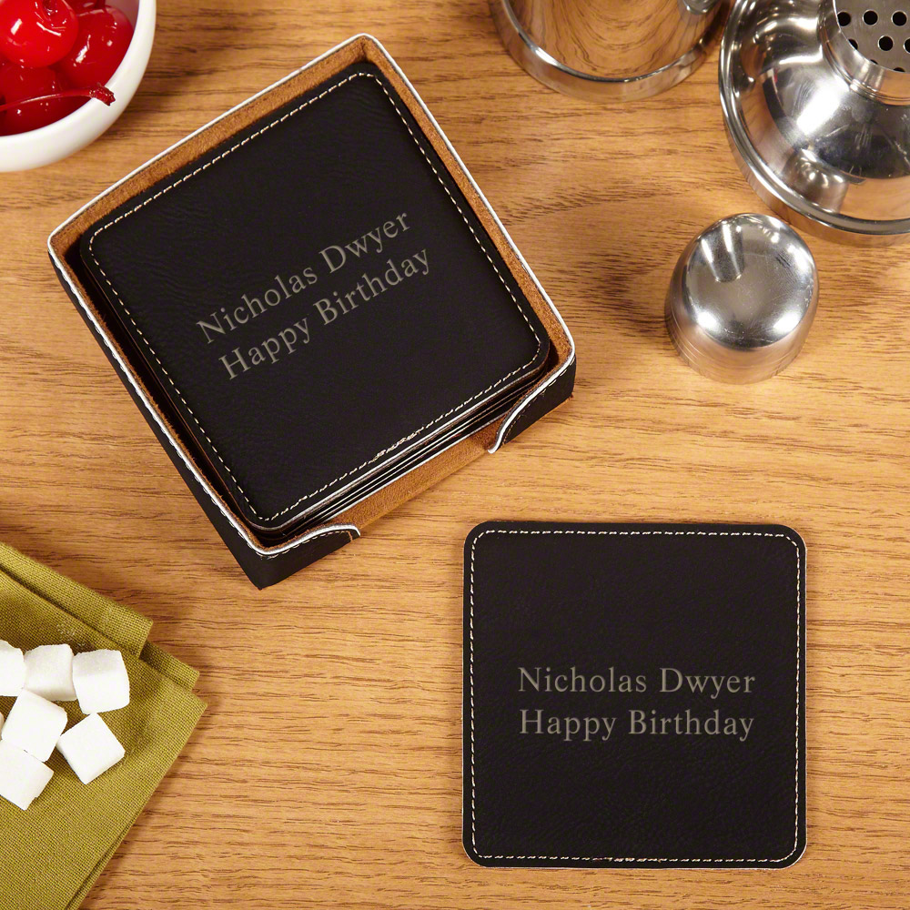 Black  Leather Square Coaster Sets WAUCUST53710P - Personalized