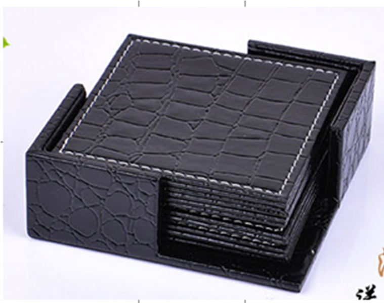 Black Reversible  Croco Leather 6 Pc Coaster Sets WAUCUST1046