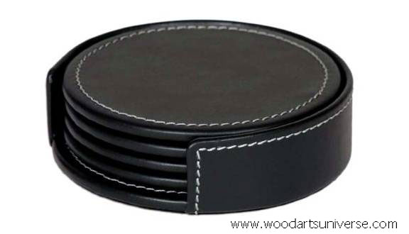 Black Leatherette Coaster Set with Holder - WAS1018D