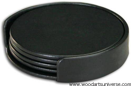Black Nappa Leather Coaster Set with Holder- WAS1017D