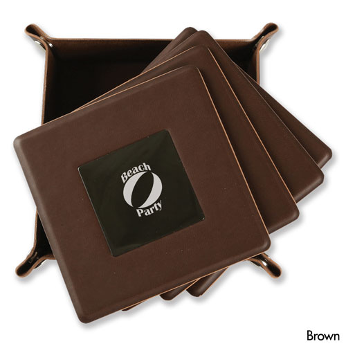 Brown  Leatherette Coasters 4 PC  WAUCUST1406800
