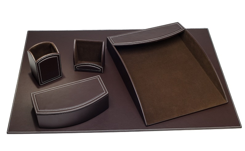 Brown 5 piece Leatherette Desk Set WAUCUSTD6064