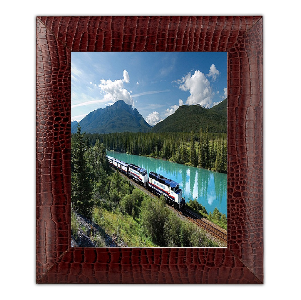 Brown Crocodile Embossed Leather 8 X 10 Photo Frame  WAUCUSTA20360