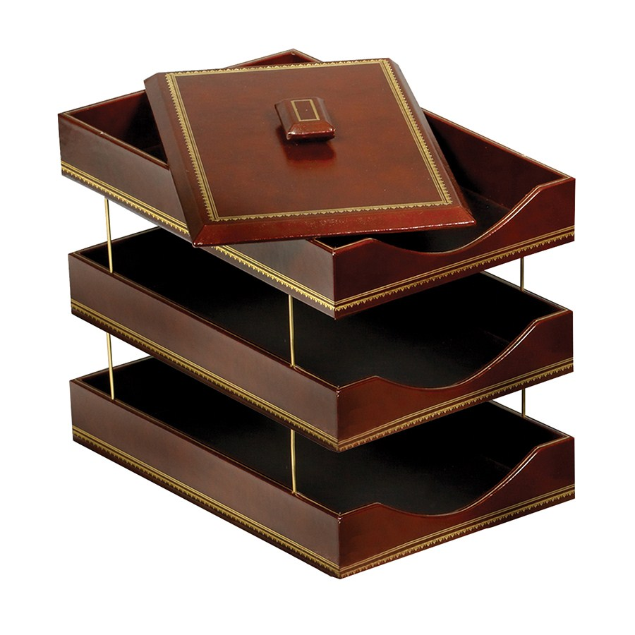 Brown Leather Letter Trays with 24kt Gold Accent, Stacking Set WAUCUSTLTRY03