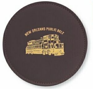 Burgundy Leather Round Coaster with  Vinyl Base   WAUCUST241500