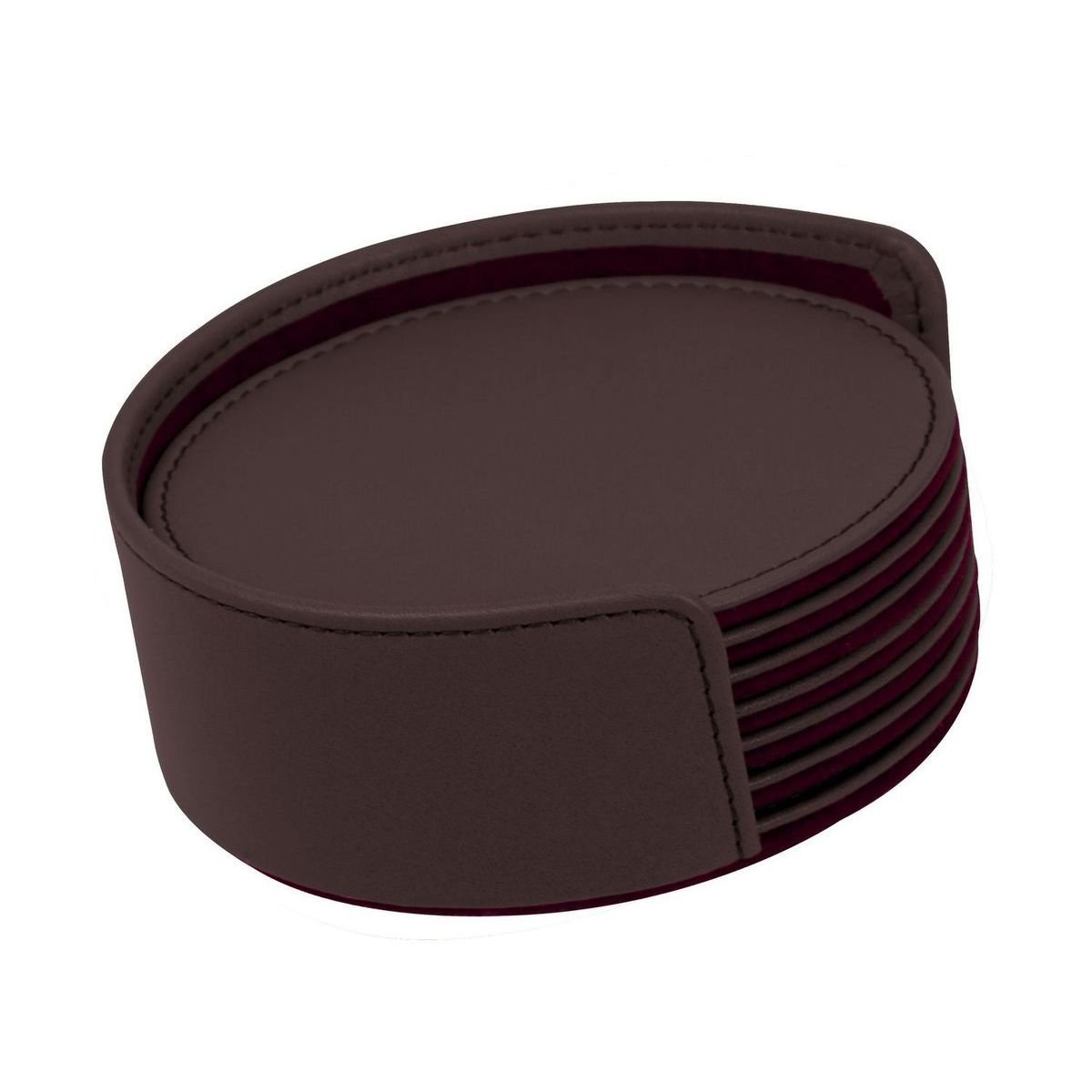 Burgundy Round Smooth Cow Leather  6 PC Coaster Set   WAUCUSTPM1357