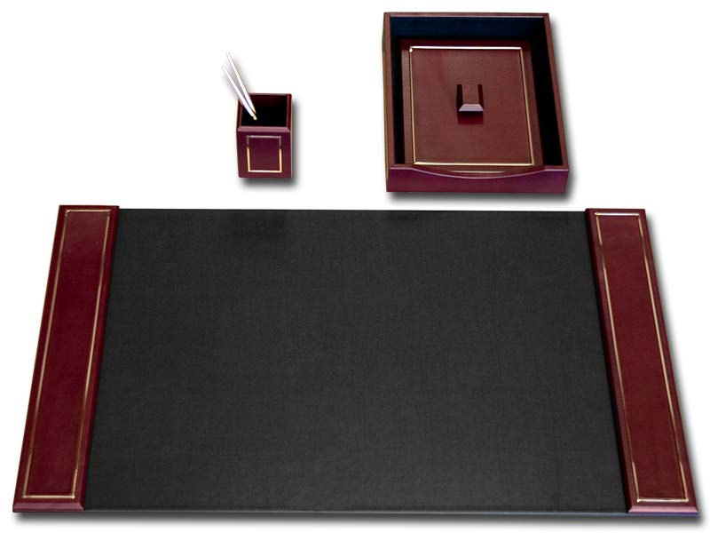 Burgundy  Leather 24Kt Gold Tooled 3Pc Desk Set  WAUCUSTD5637