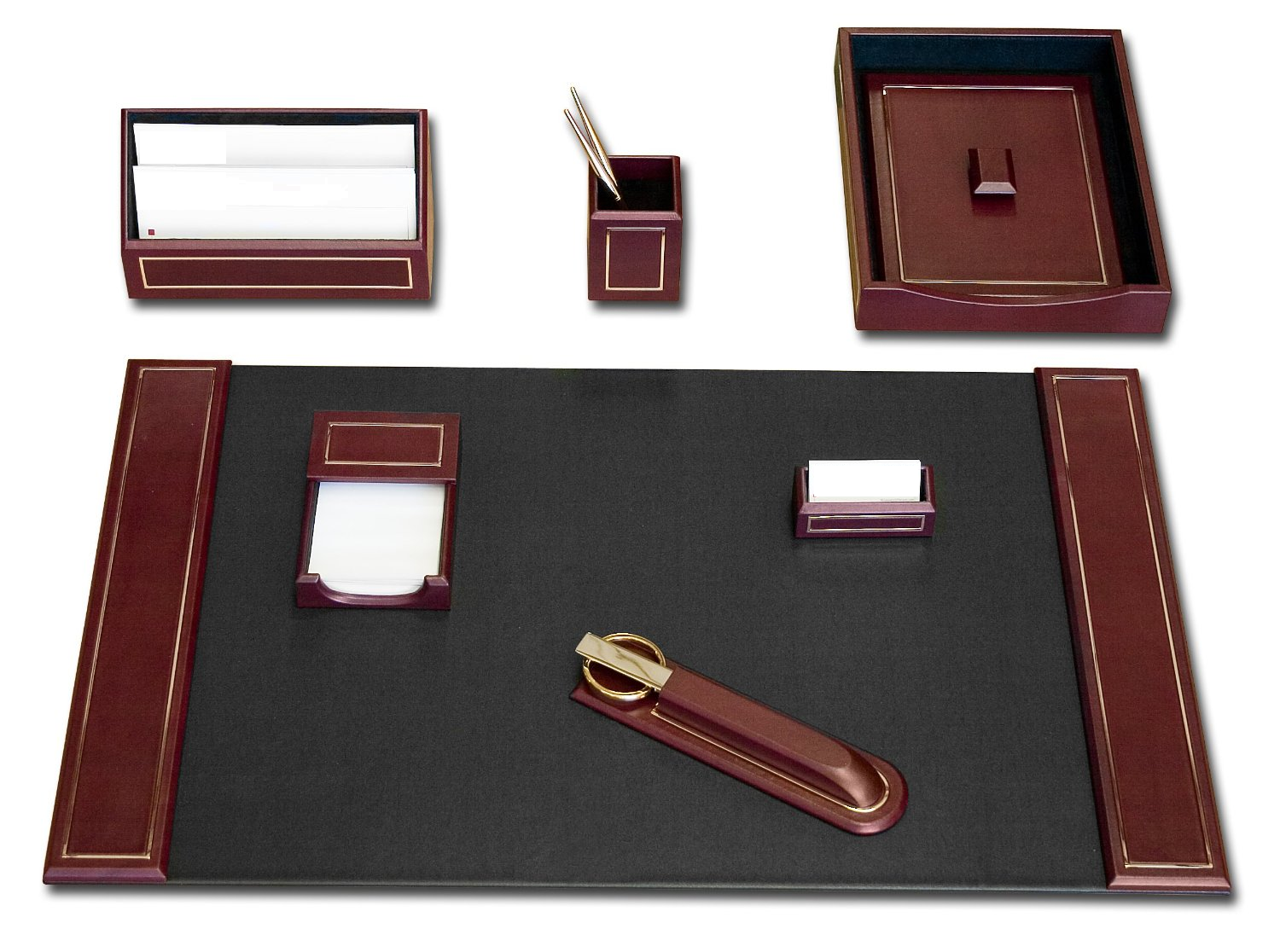 Burgundy Leather 24kt Gold-Tooled 7-Piece Desk Set  WAUCUSTD5604