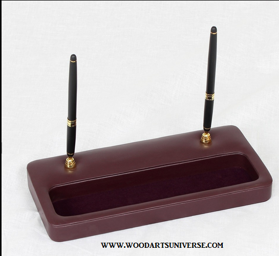 Burgundy Leather Double Pen Stand WAUCUSTP208