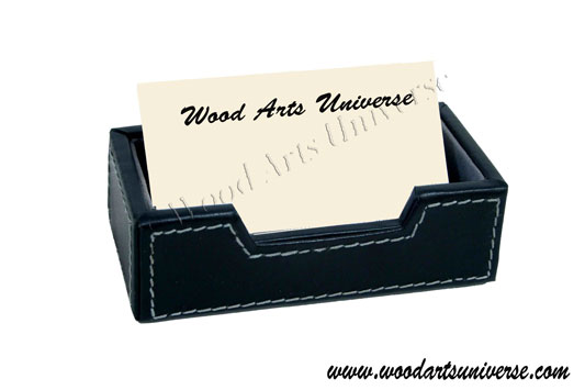 Business Card Holder - Black Top Grain Leather - WASL9E