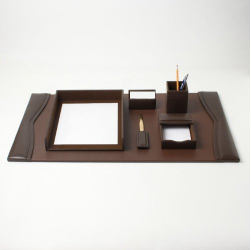 Chocolate Brown Bonded Leather Desk Set - 6 Piece with Gold Accents WAUCUST62BROWN