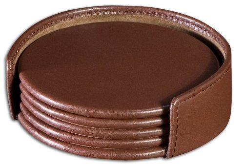 Chocolate Brown Leather Round Coaster Set WAURCUSA1245