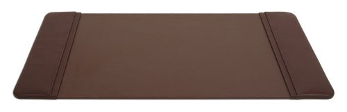 Chocolate Brown Leatherette 22 X 14  Desk Pad with Side Rails WAUCUSTP3428