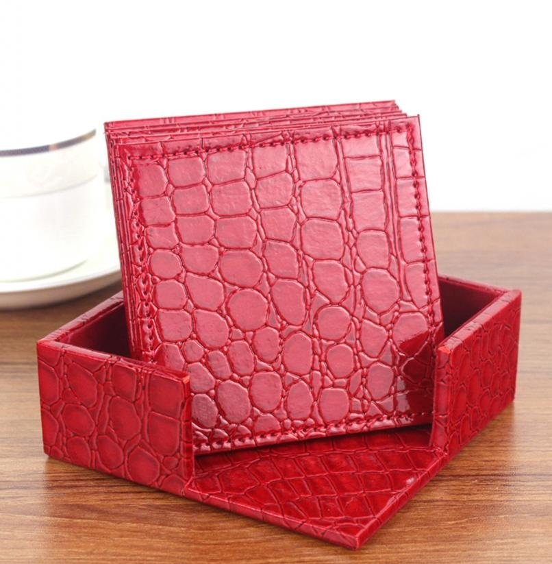 Croco Red Leather 6-Round Coaster Set WAUCUST1407