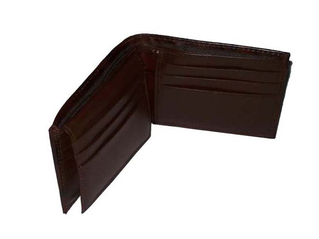 Men's Bi-fold Genuine Leather Wallet - Dark Brown