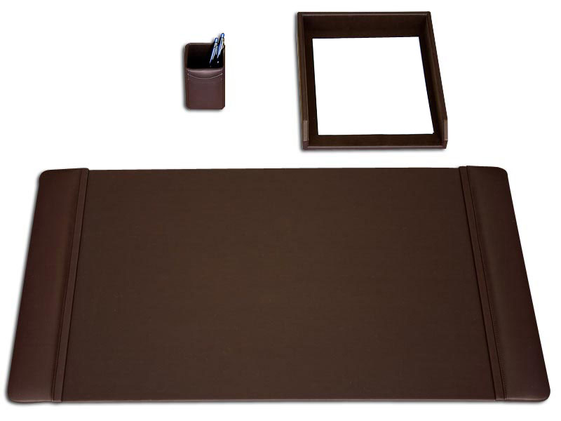 Chocolate Brown Leather 3Pc Desk Set WAUCUSD3437