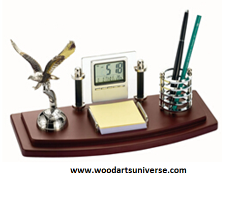 Desk Organizer With Eagle and Clock WAUSBHEAGLE3040