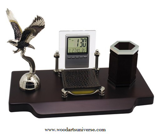 Desk Organizer With Eagle and Pen Holder WAUSBHBEAGLE