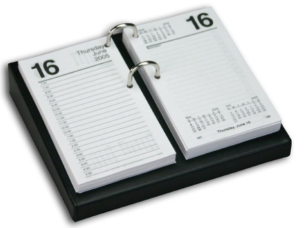 Leather Desktop Calendar Holder  with Gold Bolts,  3.5-Inch by 6-Inch -  Black  WAUCUSTA104112