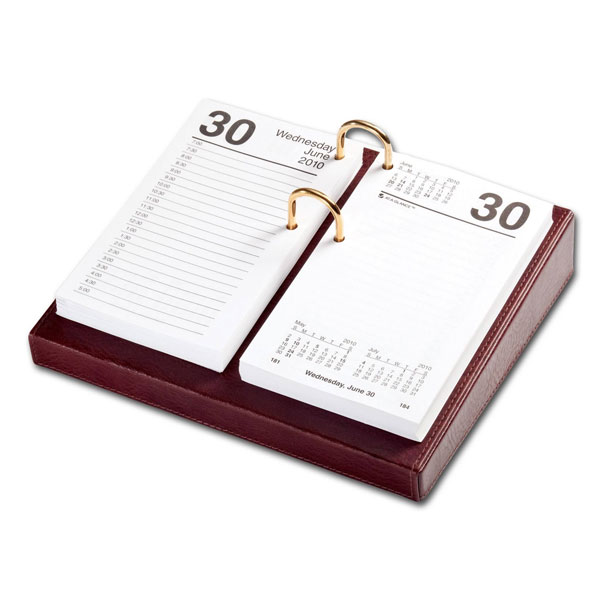 Leather Desktop Calendar Holder  with Gold Bolts,  3.5-Inch by 6-Inch -  Mocha WAUCUSTA30163