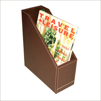 Chocolate Brown Leather Magazine Rack