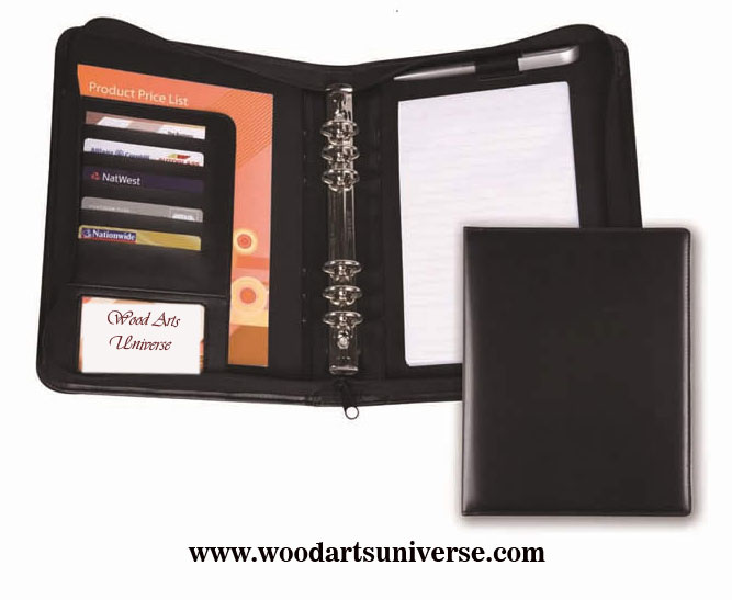 Leatherette Zippered Ring Binder Portfolio  WAUCUST5429