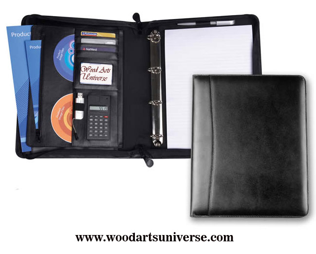 Zipped Ring Binder Leather  Portfolio WAUCUST54234