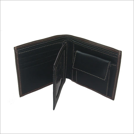 Men's bifold wallet with flap change pocket - Black