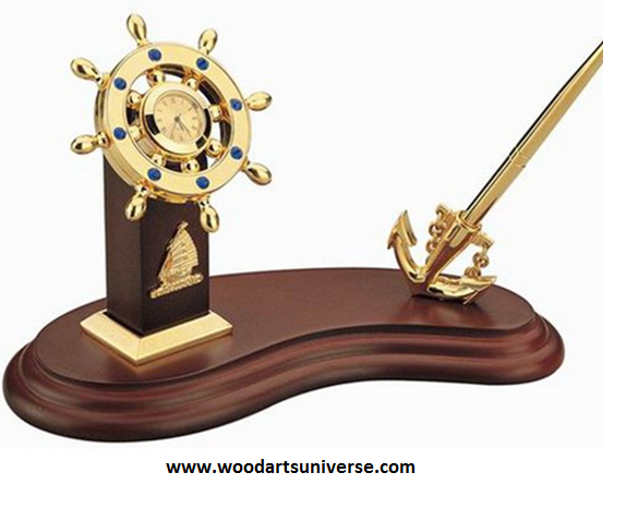 Nautical  Anchor Pen Stand With Ship Wheel Clock WASCBG0070