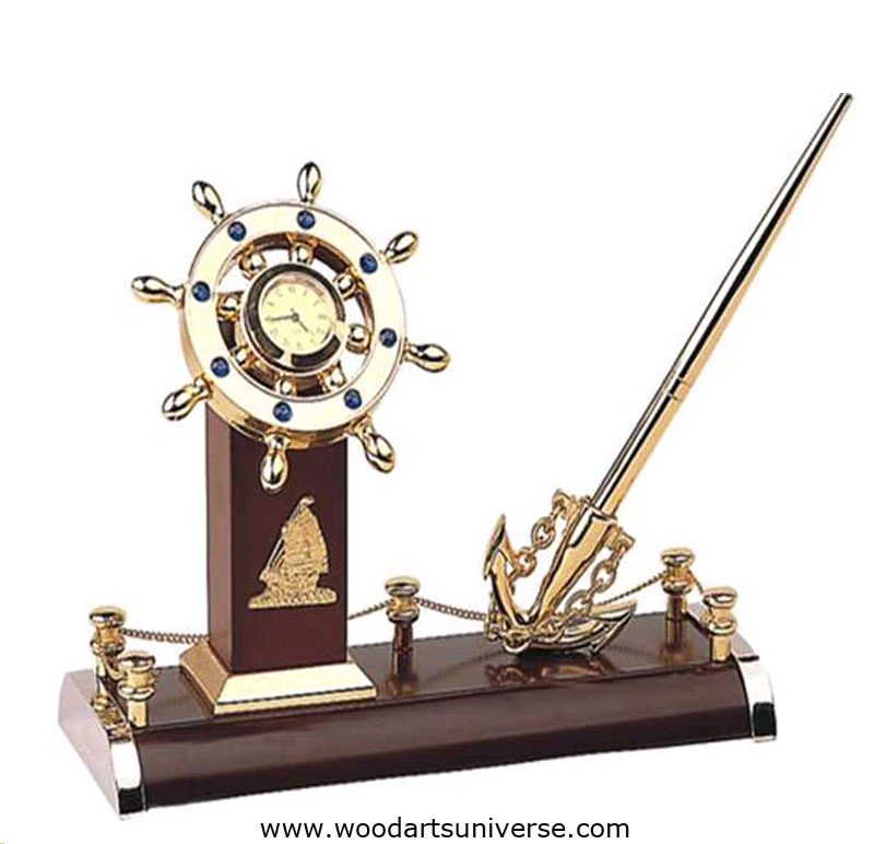 Nautical  Anchor Pen Stand and Ship Wheel Clock WASCBG09700