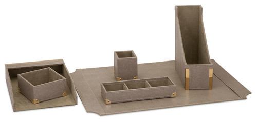 Faux leather 6-Piece Desk Set WAUCUSTP93766