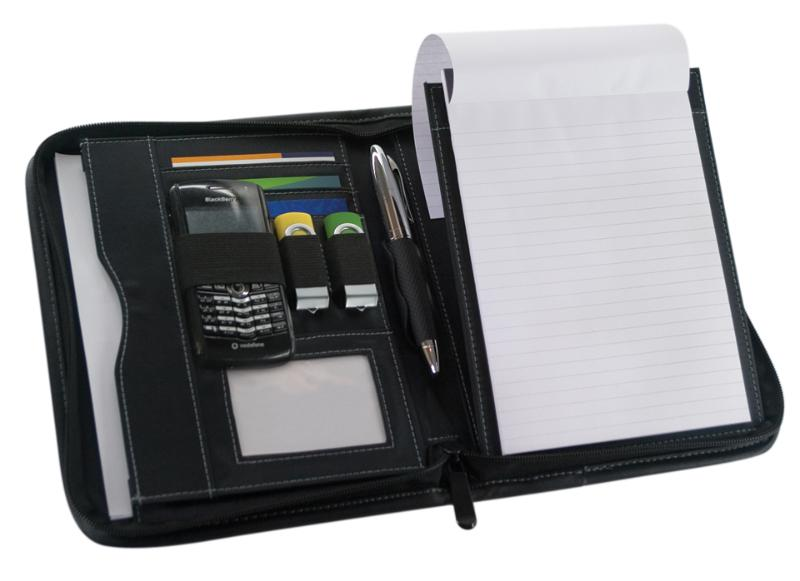Promotional Leather Zippered Padfolio - A4 Size WAUCUSTAE804b1
