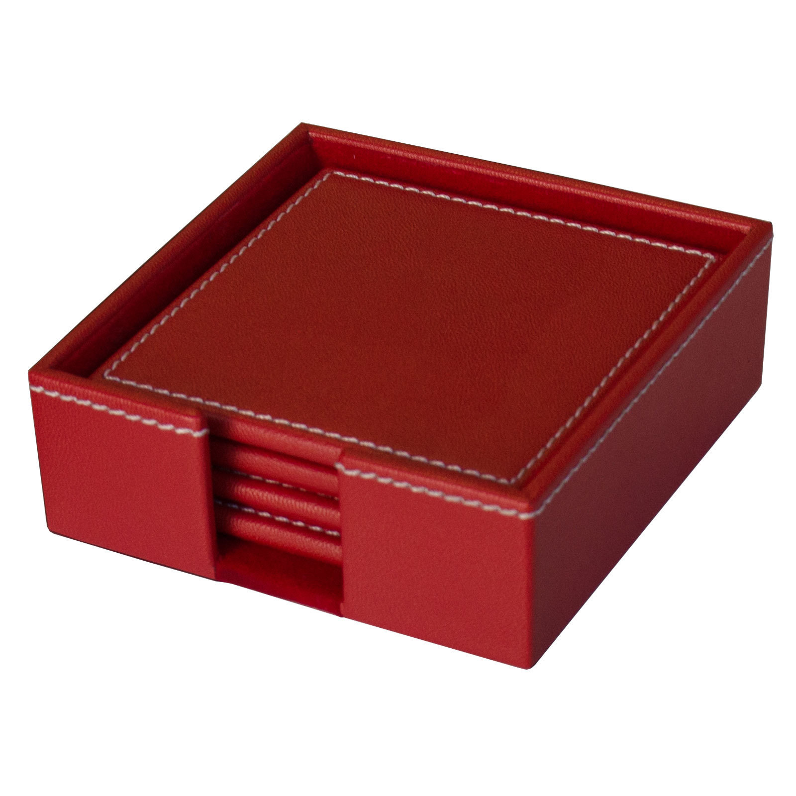 Red Leather Coaster Set with Holder WAUCUSTK662520