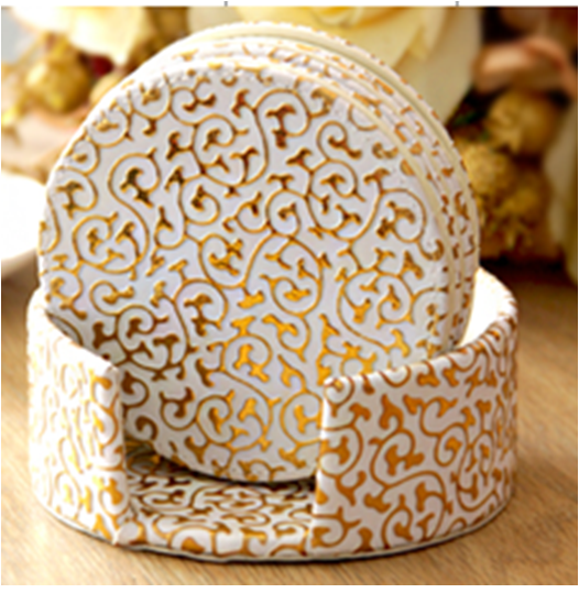 Reversible Gold Print  Leather 6 Pc  Round Coaster Sets WAUCUST1406