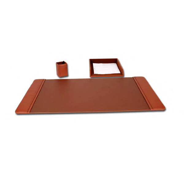 Tan Brown Leather 3 Piece Desk Set  WAUDLED4037