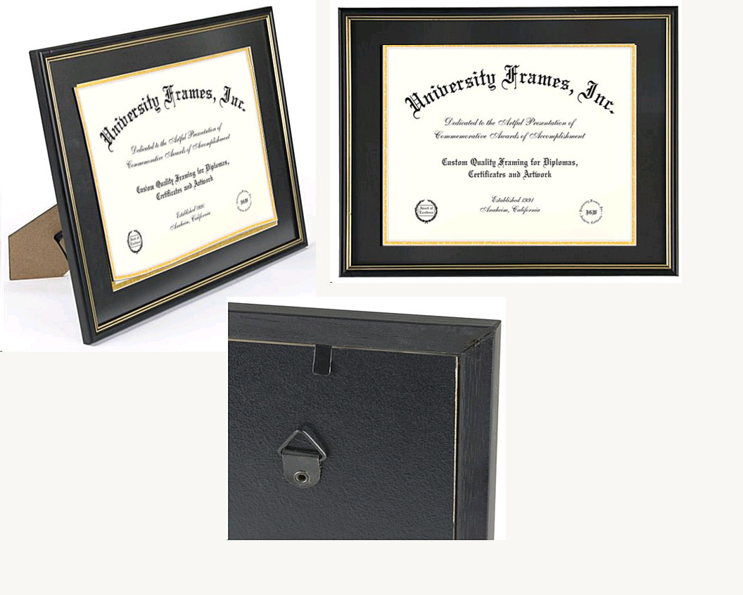 Wooden Certificate Frame With Double Mat And  Gold Trim