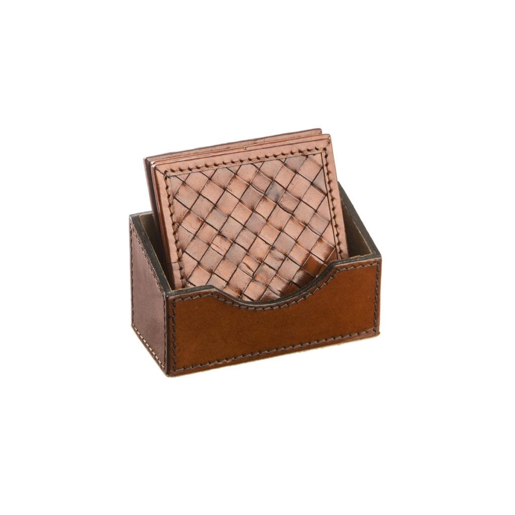 Cognac  Leather Coaster Set WAUWOVENC777
